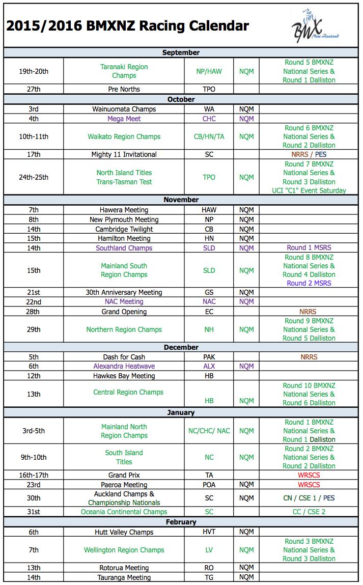 BMXNZ - Race Calendar 2015-2016 page 1