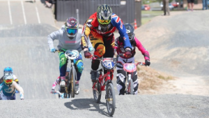 Southland's Ruby Laidlaw leads the race at the Southland BMX Championships in Invercargill. Photo: NICOLE JOHNSTONE/FAIRFAX NZ