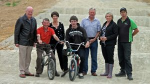 Matamata-Piako District Council councillors Garry Stanley, Brian Hunter, Leonie Tisch, BMXer Ross Taylor, councillor Bob McGrail, mayor Jan Barnes and BMXer Ziggy Burch, in an earlier photo showing the redesigned and resurfaced track.