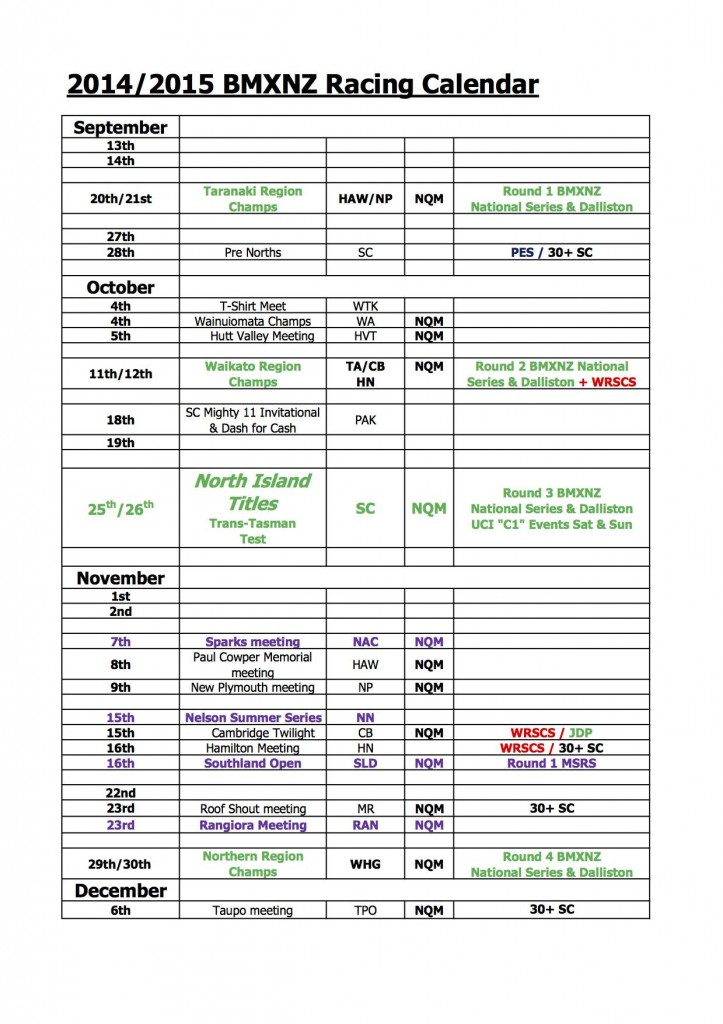 BMXNZ 2014/2015 Calendar