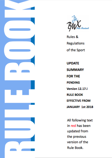 BMXNZ Rules and Regulations UPDATE – January 1st 2018